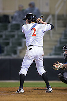 Landon Lassiter (2) of the Kannapolis Intimidators at bat against the Hickory Crawdads at Kannapolis Intimidators Stadium on April 9, 2016 in Kannapolis, North Carolina.  The Crawdads defeated the Intimidators 6-1 in 10 innings.  (Brian Westerholt/Four Seam Images)