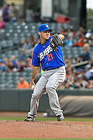 Las Vegas 51s starting pitcher Tyler Pill (21) delivers a pitch to the plate against the Salt Lake Bees in Pacific Coast League action at Smith's Ballpark on September 4, 2016 in Salt Lake City, Utah. The Bees defeated the 51s 4-3. (Stephen Smith/Four Seam Images)