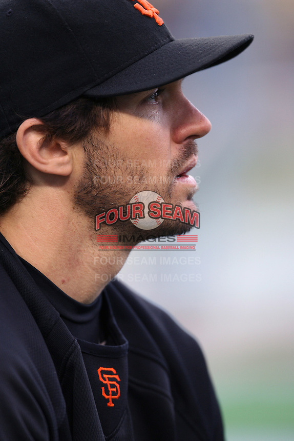 Barry Zito of the San Francisco Giants during batting practice before a game from the 2007 season at Dodger Stadium in Los Angeles, California. (Larry Goren/Four Seam Images)