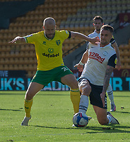Preston North End's Patrick Bauer (right) is tackled by Norwich City's Teemu Pukki (left) <br /> <br /> Photographer David Horton/CameraSport<br /> <br /> The EFL Sky Bet Championship - Norwich City v Preston North End - Saturday 19th September 2020 - Carrow Road - Norwich<br /> <br /> World Copyright © 2020 CameraSport. All rights reserved. 43 Linden Ave. Countesthorpe. Leicester. England. LE8 5PG - Tel: +44 (0) 116 277 4147 - admin@camerasport.com - www.camerasport.com
