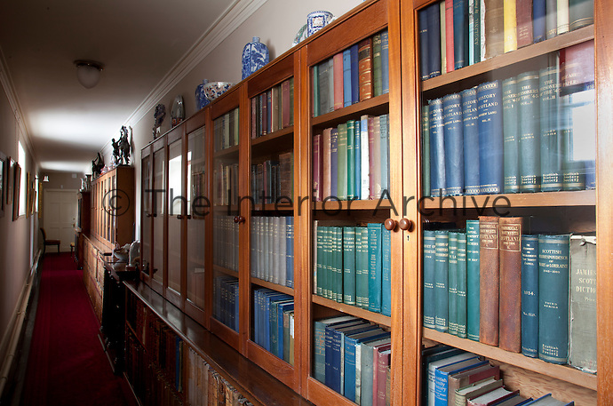 Corridor of bookcases and book cabinets