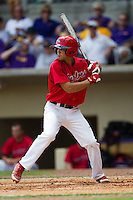 Stony Brook Seawolves shortstop Cole Peragine #28 at bat during the NCAA Super Regional baseball game against LSU on June 9, 2012 at Alex Box Stadium in Baton Rouge, Louisiana. Stony Brook defeated LSU 3-1. (Andrew Woolley/Four Seam Images)