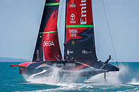 Emirates Team New Zealand practice during the first day of the Round Robin competition for the PRADA Cup (RR1 - R1). The Prada America's Cup. Auckland, New Zealand on Friday 15th January 2021. Copyright Photo: Libby Law
