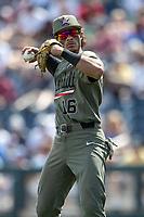 Vanderbilt Commodores third baseman Austin Martin (16) during Game 3 of the NCAA College World Series against the Louisville Cardinals on June 16, 2019 at TD Ameritrade Park in Omaha, Nebraska. Vanderbilt defeated Louisville 3-1. (Andrew Woolley/Four Seam Images)