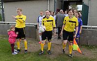 Finale Beker van West-Vlaanderen Vrouwen FC Knokke - SK Opex Girls Oostende :  scheidsrechterstrio met Joline Delcroix (rechts) , Kim Depickere (midden) en Heidi Houtthave (links)<br /> foto VDB / BART VANDENBROUCKE