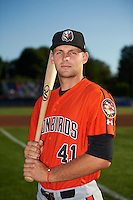 Aberdeen IronBirds Mike Odenwaelder (41) poses for a photo before a game against the Batavia Muckdogs on July 15, 2016 at Dwyer Stadium in Batavia, New York.  Aberdeen defeated Batavia 4-2.  (Mike Janes/Four Seam Images)