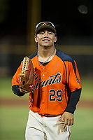 AZL Giants center fielder Ismael Munguia (29) jogs off the field between innings of the game against the AZL Reds on August 12, 2017 at Scottsdale Stadium in Scottsdale, Arizona. AZL Giants defeated the AZL Reds 1-0. (Zachary Lucy/Four Seam Images)