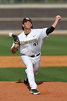 UCF Knights pitcher Chris Matulis #41 delivers a pitch during a game against the Siena Saints at the UCF Baseball Complex on March 3, 2012 in Orlando, Florida.  UCF defeated Siena 6-4.  (Mike Janes/Four Seam Images)