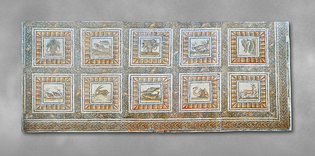 Mid 2nd century AD Roman mosaic depicting Xenia which were gifts of hospitality as well as various animals. From Thysdrus (El Jem), Tunisia.  The Bardo Museum, Tunis, Tunisia. Grey background