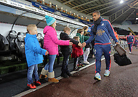 Wayne Routledge of Swansea arrives before the Barclays Premier League match between Swansea City and Watford at the Liberty Stadium, Swansea on January 18 2016