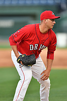 Pitcher Robby Sexton (25) of the Greenville Drive at the team's first workout of the season on Tuesday, April 4, 2017, at Fluor Field at the West End in Greenville, South Carolina. (Tom Priddy/Four Seam Images)