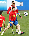 Spain's Aritz Aduriz (l) and Bruno Soriano during training session previous friendly match. May 31,2016.(ALTERPHOTOS/Acero)