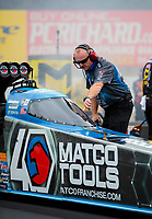 Brad Mason, crew chief for NHRA top fuel driver Antron Brown during qualifying for the Reading Nationals at Maple Grove Raceway. Mandatory Credit: Mark J. Rebilas-USA TODAY Sports