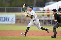 Lynchburg Hillcats first baseman Edison Sanchez (16) in a run down during a game against the Potomac Nationals on April 26, 2014 at Pfitzner Stadium in Woodbridge, Virginia.  Potomac defeated Lynchburg 6-2.  (Mike Janes/Four Seam Images)