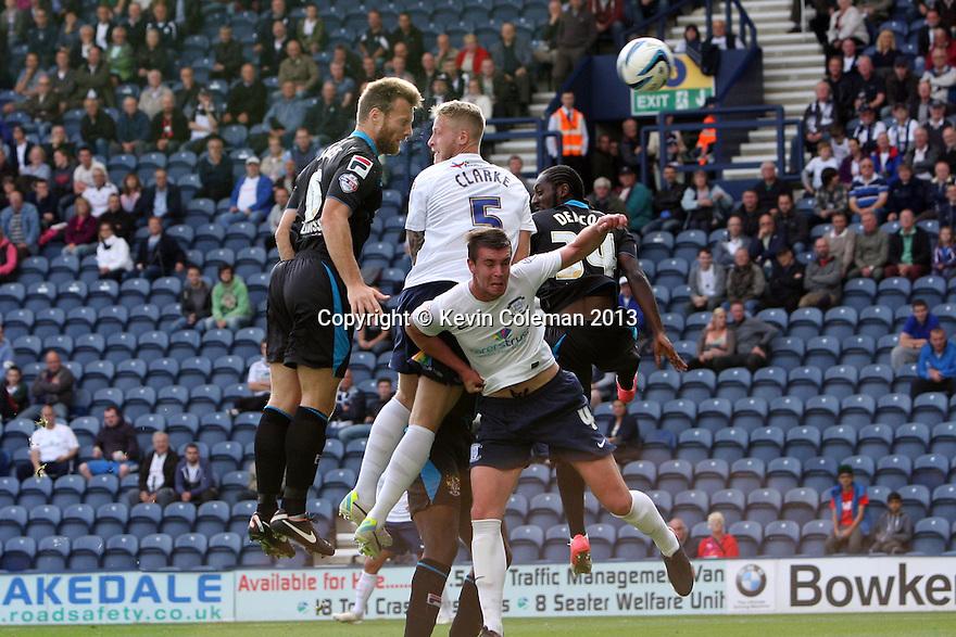 Luke Jones of Stevenage heads wide<br />  - Preston North End v Stevenage - Sky Bet League One - Deepdale, Preston - 14th September 2013. <br /> © Kevin Coleman 2013