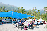 Campers enjoying the morning at one of the group campsites provided by the forest service.