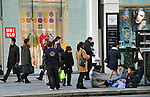 January 25, 2012, Tokyo, Japan - Foreign tourists are seen in Ginza, Japans most renown shopping district in Tokyo, on Wednesday, January 25, 2012. ..Tourism has picked up in the latter half of 2011 despite the dramatic drop Japan saw after the unprecedented natural disasters and nuclear power plant accident., according to the Japan National Tourism Organization. The total visitor numbers to Japan for the year 2011 ending December were 6,219,300, a 27.8% decrease from 2010s figures of 8,611,175. (Photo by Natsuki Sakai/AFLO) AYF -mis-