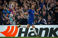 PEDRO of Chelsea celebrates scoring his 3rd goal during the UEFA Europa League match between Chelsea and Slavia Prague at Stamford Bridge, London, England on 18 April 2019. Photo by Andy Rowland / PRiME Media Images.<br /> .<br /> .<br /> Editorial use only, license required for commercial use. No use in betting,<br /> games or a single club/league/player publications.'
