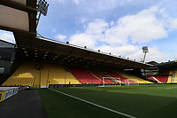 A general view of Vicarage Road Stadium prior to kick off of the Premier League match between Watford and Swansea City at Vicarage Road Stadium, Watford, England, UK. Saturday 15 April 2017