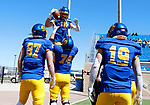 BROOKINGS, SD - APRIL 24: South Dakota State Jackrabbits wide receiver Jaxon Janke #10 celebrates a touchdown with teammates against the Holy Cross Crusaders at Dana J Dykhouse Stadium on April 24, 2021 in Brookings, South Dakota. (Photo by Dave Eggen/Inertia)