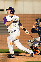 Cameron Freeman #5 of the East Carolina Pirates follows through on his swing versus the Virginia Cavaliers at Clark-LeClair Stadium on February 19, 2010 in Greenville, North Carolina.   Photo by Brian Westerholt / Four Seam Images