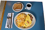 U.S.A., Northwest, Oregon, Eastern Oregon, Old mining town of Mitchell, Bridge Creek Café, Breakfast, Denver omelet, hash browns, wheat toast and black coffee,