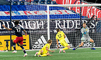 FOXBOROUGH, MA - OCTOBER 3: Joe Willis #1 of Nashville SC makes a save during a game between Nashville SC and New England Revolution at Gillette Stadium on October 3, 2020 in Foxborough, Massachusetts.