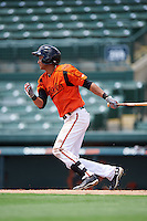 GCL Orioles shortstop Irving Ortega (1) at bat during a game against the GCL Red Sox on August 16, 2016 at the Ed Smith Stadium in Sarasota, Florida.  GCL Red Sox defeated GCL Orioles 2-0.  (Mike Janes/Four Seam Images)