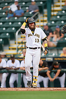 Bradenton Marauders Jack Herman (13) bats during Game One of the Low-A Southeast Championship Series against the Tampa Tarpons on September 21, 2021 at LECOM Park in Bradenton, Florida.  (Mike Janes/Four Seam Images)