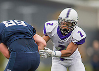 8 October 2016: Amherst College Purple & White Defensive Back Nate Tyrell, a Sophomore from Brooklyn, NY, in action against the Middlebury College Panthers at Alumni Stadium in Middlebury, Vermont. The Panthers edged out the Purple & While 27-26. Mandatory Credit: Ed Wolfstein Photo *** RAW (NEF) Image File Available ***