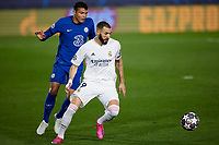 April 27th 2021; Alfredo Di Stefano Stadium, Madrid, Spain;  UEFA Champions League. Karim Benzema of Real Madrid holds off Thiago Silva of Chelsea FC during the Champions League match, semifinals between Real Madrid and Chelsea FC played at Alfredo Di Stefano Stadium