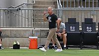 CARY, NC - AUGUST 01: Dave Sarachan yells at his players during a game between Birmingham Legion FC and North Carolina FC at Sahlen's Stadium at WakeMed Soccer Park on August 01, 2020 in Cary, North Carolina.