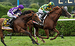 August 28, 2021: Gufo #2, ridden by jockey Joel Rosario holds off a fast closing Japan (GB) ridden by jockey Ryan Moore to win the Grade 1 Sword Dancer Stakes on the turf at Saratoga Race Course in Saratoga Springs, N.Y. on August 28th, 2021. Rob Simmons/Eclipse Sportswire/CSM