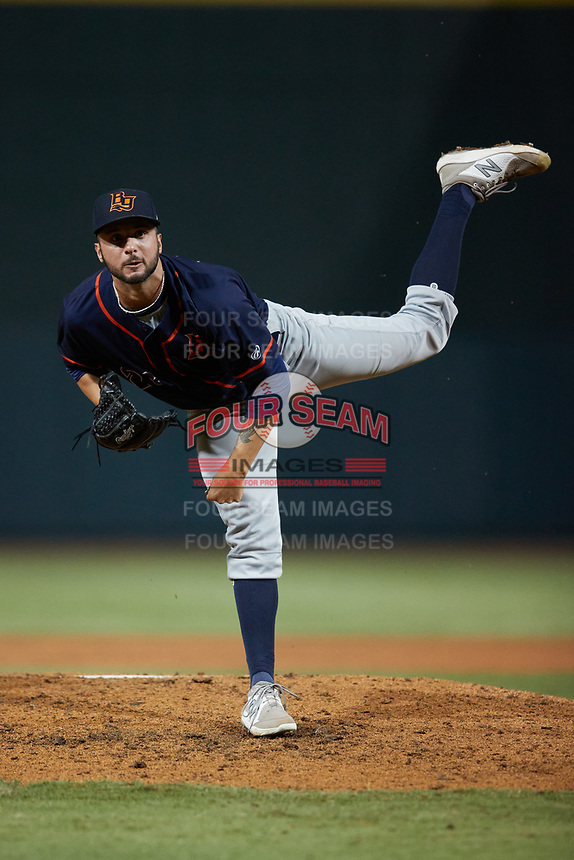 Bowling Green Hot Rods relief pitcher Michael Costanzo (26) follows through on his delivery against the Winston-Salem Dash at Truist Stadium on September 9, 2021 in Winston-Salem, North Carolina. (Brian Westerholt/Four Seam Images)