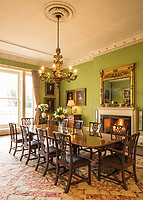 BNPS.co.uk (01202) 558833. <br /> Pic: Duke's/BNPS<br /> <br /> Pictured: The dining room of Wormington Grange. <br /> <br /> The lavish contents of one of Britain's most beautiful stately homes are being auctioned off in a £1m everything must go sale.<br /> <br /> Wormington Grange has been owned since the 1970s by John Evetts, the grandson of Lord Ismay, Winston Churchill's chief military strategist during World War Two.<br /> <br /> Mr Evetts has sold the £15m neoclassical Cotswolds mansion as he is downsizing to a smaller property in the area.<br /> <br /> The sale, to be conducted by Duke's, of Dorchester, Dorset, features over 1,000 items ranging in value from £50 kitchen glasses to £100,000 works of art.