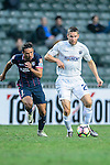 Auckland City Defender Marko Dordevic (R) is chased by SC Kitchee Midfielder Fernando Augusto (L) during the Nike Lunar New Year Cup 2017 match between SC Kitchee (HKG) and Auckland City FC (NZL) on January 31, 2017 in Hong Kong, Hong Kong. Photo by Marcio Rodrigo Machado / Power Sport Images
