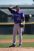 Colorado Rockies starting pitcher Riley Pint (99) during a Minor League Spring Training game against the Los Angeles Angels at Tempe Diablo Stadium Complex on March 18, 2018 in Tempe, Arizona. (Zachary Lucy/Four Seam Images)