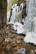 """Franconia Notch State Park - Flume Gorge during the spring months in Lincoln, New Hampshire USA. The Flume was discovered in 1808 by 93-year-old """"Aunt"""" Jess Guernsey when she accidentally came upon it while fishing. However, there is speculation that she was not the first to discover the Flume."""