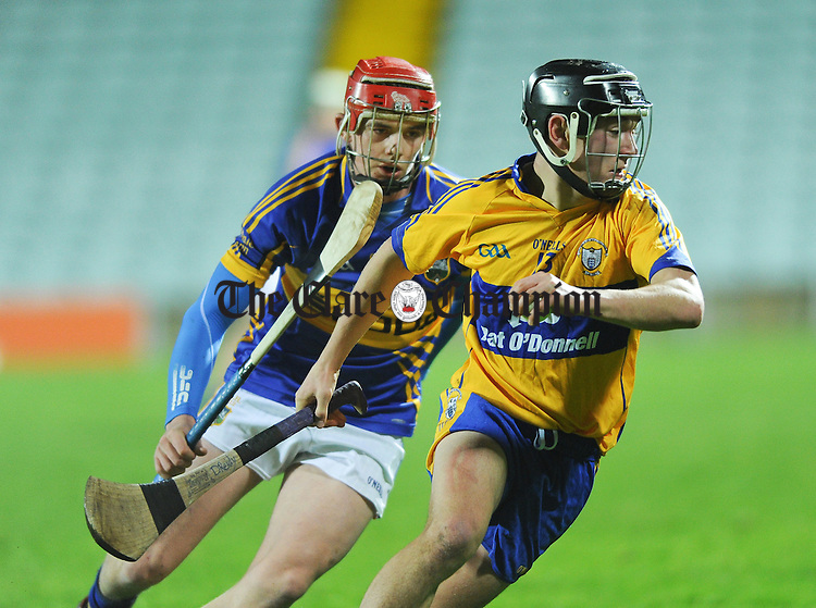 David Reidy of Clare in action against Ronan Maher of Tipperary during their Waterford Crystal Final at The Gaelic Grounds. Photograph by John Kelly.