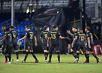 LAKE BUENA VISTA, FL - JULY 18: Mohamed El-Munir #13 of LAFC celebrates his goal with Brian Rodríguez #17 of LAFC and teammates during a game between Los Angeles Galaxy and Los Angeles FC at ESPN Wide World of Sports on July 18, 2020 in Lake Buena Vista, Florida.