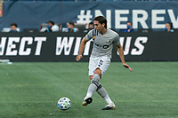 FOXBOROUGH, MA - SEPTEMBER 23: Luis Binks #5 of Montreal Impact passes the ball during a game between Montreal Impact and New England Revolution at Gillette Stadium on September 23, 2020 in Foxborough, Massachusetts.
