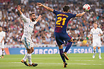 Real Madrid's Daniel Carvajal and FC Barcelona's Andre Gomes during Supercup of Spain 2nd match at Santiago Bernabeu Stadium in Madrid, Spain August 16, 2017. (ALTERPHOTOS/Borja B.Hojas)