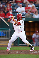 Springfield Cardinals first baseman Jonathan Rodriguez (28) at bat during a game against the Frisco RoughRiders  on June 4, 2015 at Hammons Field in Springfield, Missouri.  Frisco defeated Springfield 8-7.  (Mike Janes/Four Seam Images)