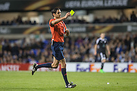 Referee Adrien Jaccottet gives Goalkeeper Ibrahim Sehic of Qarabag FK a yellow during the UEFA Europa League match between Tottenham Hotspur and Qarabag FK at White Hart Lane, London, England on 17 September 2015. Photo by Andy Rowland.