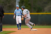 Dartmouth Big Green Oliver Campbell (27) running the bases during a game against the Indiana State Sycamores on February 21, 2020 at North Charlotte Regional Park in Port Charlotte, Florida.  Indiana State defeated Dartmouth 1-0.  (Mike Janes/Four Seam Images)