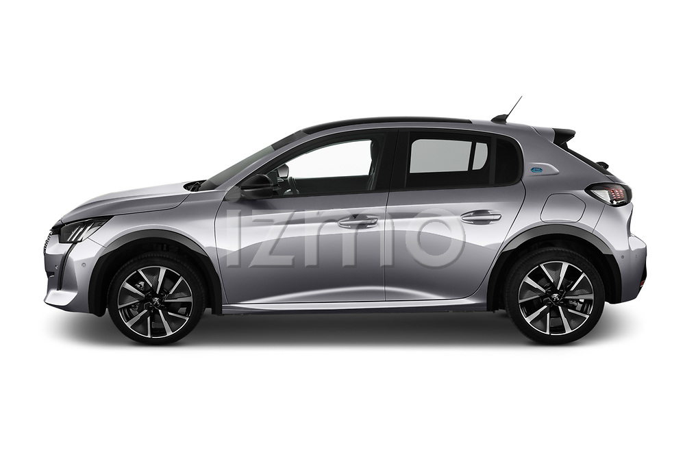 Car Driver side profile view of a 2020 Peugeot e-208 GT 5 Door Hatchback Side View