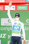 Enric Mas (ESP) Movistar Team retains the young riders White Jersey at the end of Stage 13 of the Vuelta Espana 2020 an individual time trial running 33.7km from Muros to Mirador de Ézaro. Dumbría, Spain. 3rd November 2020. <br /> Picture: Luis Angel Gomez/PhotoSportGomez | Cyclefile<br /> <br /> All photos usage must carry mandatory copyright credit (© Cyclefile | Luis Angel Gomez/PhotoSportGomez)