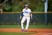 South Dakota State Jackrabbits first baseman Josh Falk (19) during a game against the Northeastern Huskies on February 23, 2019 at North Charlotte Regional Park in Port Charlotte, Florida.  Northeastern defeated South Dakota State 12-9.  (Mike Janes/Four Seam Images)
