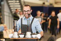 MELBOURNE 3 MARCH 2013 - Will Priestley competing in the finals of the 2013 AASCA Australian Barista Championship at the Melbourne Showgrounds. Photo by Sydney Low / syd-low.com