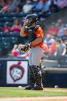 Bowie Baysox catcher David Freitas (46) gives defensive signs during the game against the Richmond Flying Squirrels at The Diamond on May 24, 2015 in Richmond, Virginia.  The Flying Squirrels defeated the Baysox 5-2.  (Brian Westerholt/Four Seam Images)